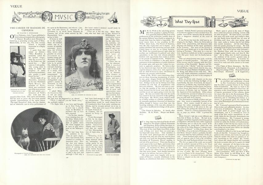 Music: The Career of Mme. De Cisneros