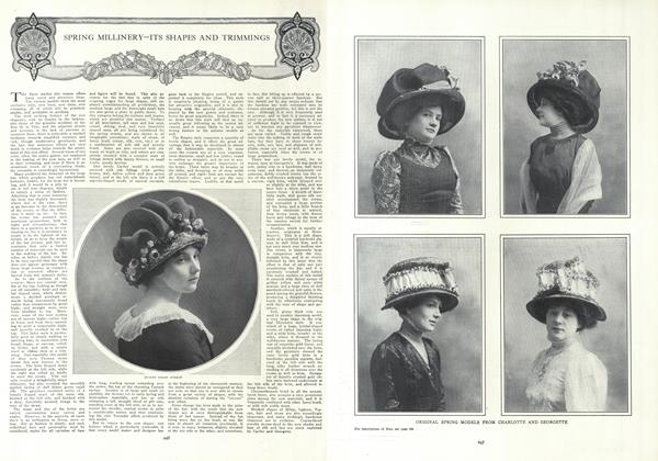 Article Preview: Spring Millinery—Its Shapes and Trimmngs, February 18 1909 | Vogue