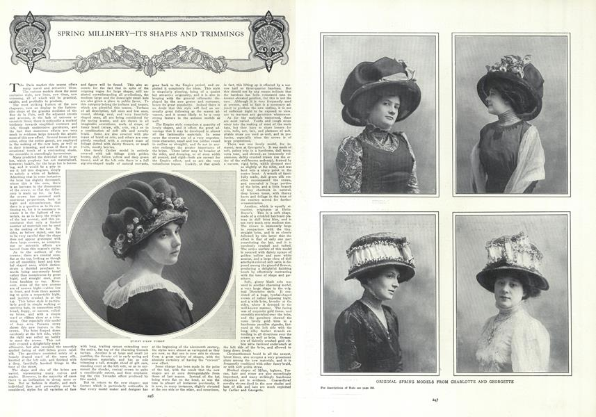 Spring Millinery—Its Shapes and Trimmngs