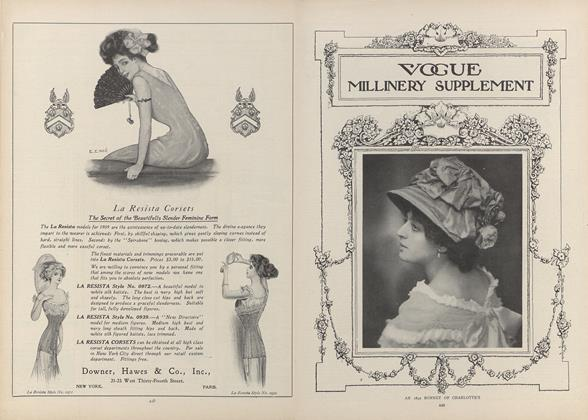 Article Preview: Quaint and Lovely Millinery for Spring, March 18 1909 | Vogue