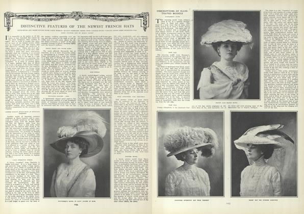 Article Preview: Distinctive Features of the Newest French Hats, June 10 1909 | Vogue