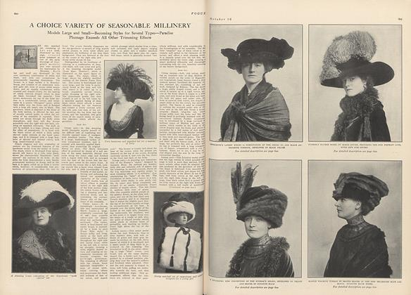 Article Preview: A Choice Variety of Seasonable Millinery, October 16 1909 | Vogue