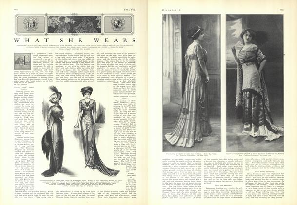Article Preview: What She Wears, December 18 1909 | Vogue
