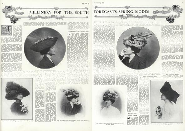 Article Preview: Millinery for the South Forecasts Spring Modes, January 22 1910 | Vogue