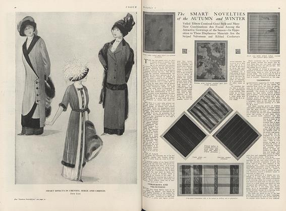 Article Preview: Seven Pages Illustrating the Newest Autumn Fabrics, Laces, Buttons and Trimmings, October 1 1910 | Vogue
