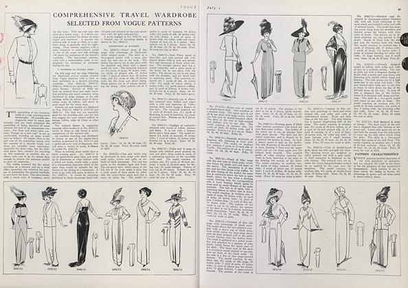 Article Preview: Comprehensive Travel Wardrobe Selected from Vogue Patterns, July 1 1912 | Vogue