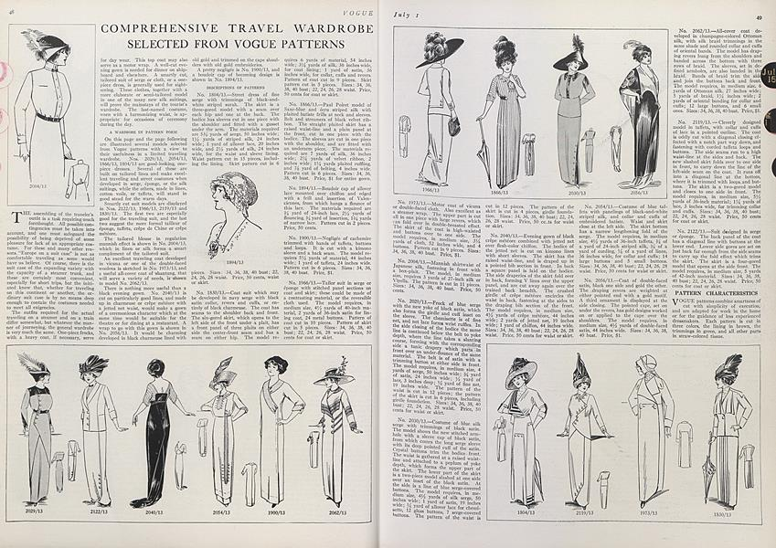 Comprehensive Travel Wardrobe Selected from Vogue Patterns