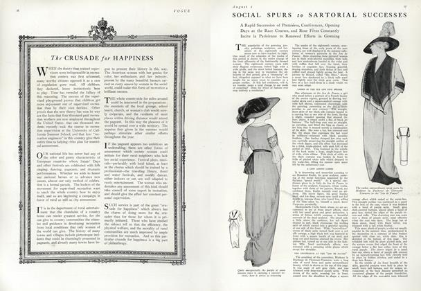 Article Preview: Social Spurs to Sartorial Successes, August 1 1912 | Vogue
