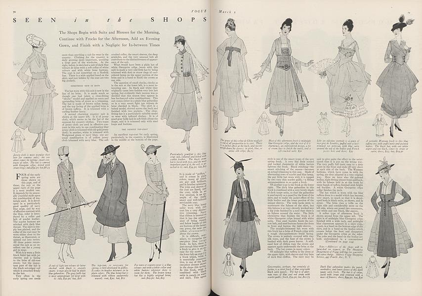 Seen in the Shops: The Shops Begin with Suits and Blouses for the Morning, Continue with Frocks for the Afternoon, Add an Evening Gown, and Finish with a Negligee for In-between Times