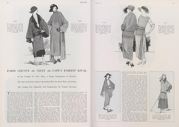 Article Preview: Paris Counts the Coat the Cape's Fairest Rival, May 1 1922 | Vogue