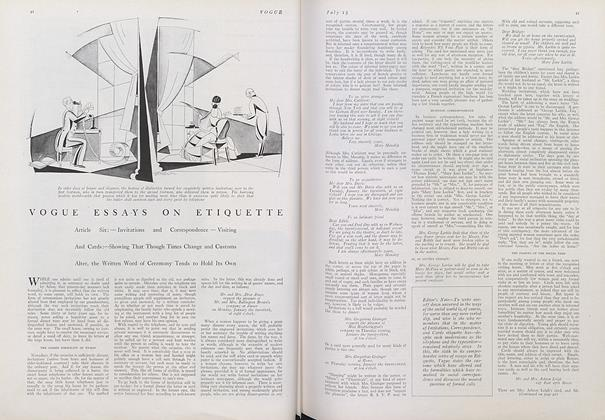 Article Preview: Vogue Essays on Etiquette, July 15 1922 | Vogue