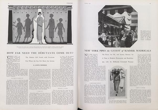 Article Preview: New York Pipes the Gayest of Summer Madrigals, July 15 1922 | Vogue