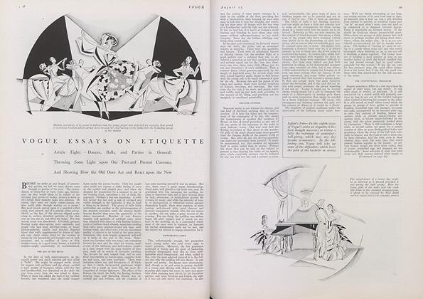 Article Preview: Vogue Essays on Etiquette, August 15 1922 | Vogue