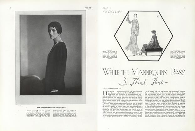 Article Preview: While the Mannequins Pass, I Think That—, April 15 1924 | Vogue