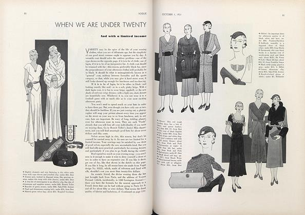 Article Preview: When We Are Under Twenty and with a Limited Income, October 1 1931 | Vogue