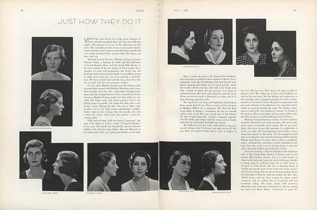 Article Preview: Just How They Do It, July 1 1932 | Vogue