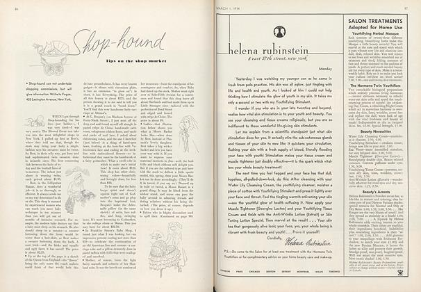 Article Preview: Shop-Hound: Tips on the Shop Market, March 1 1934 | Vogue