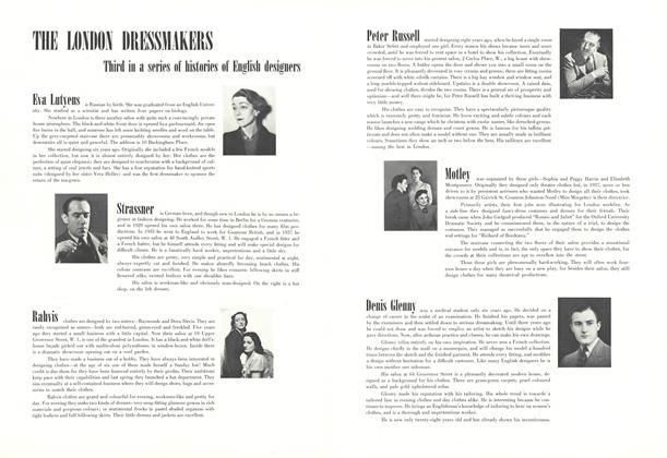 THE LONDON DRESSMAKERS: Third in a series of histories of English designers