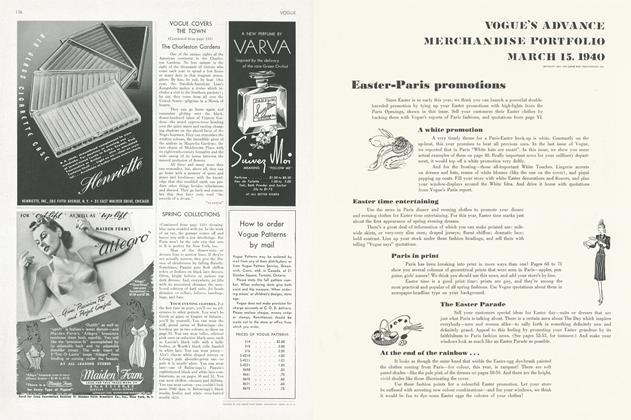 VOGUE'S ADVANCE MERCHANDISE PORTFOLIO MARCH 15, 1940