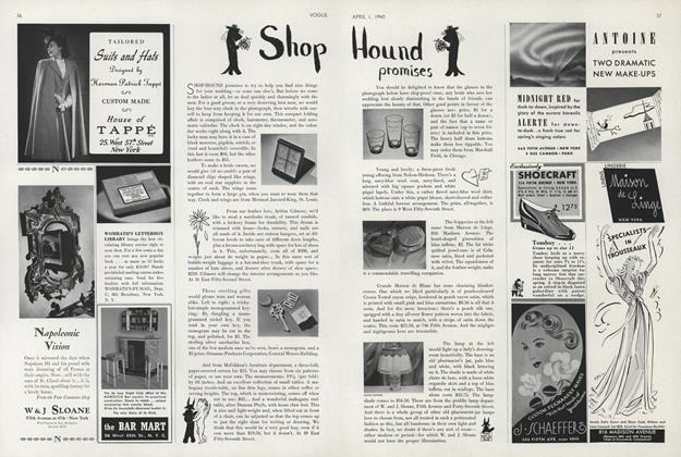 Article Preview: Shop Hound Promises, April 1 1940 | Vogue