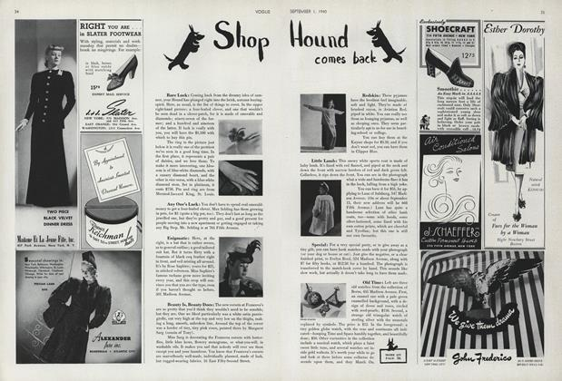 Article Preview: Shop Hound Comes Back, September 1 1940 | Vogue