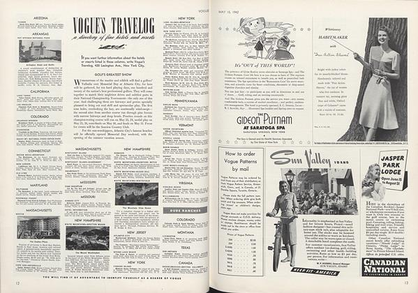 Article Preview: Vogue's Travelog, May 15 1942 | Vogue