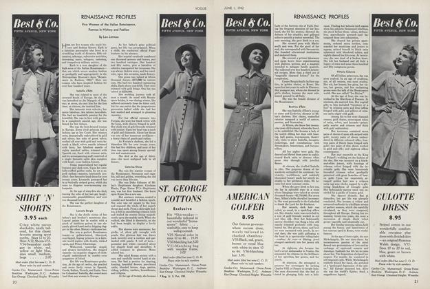 Article Preview: Renaissance Profiles, June 1 1942 | Vogue