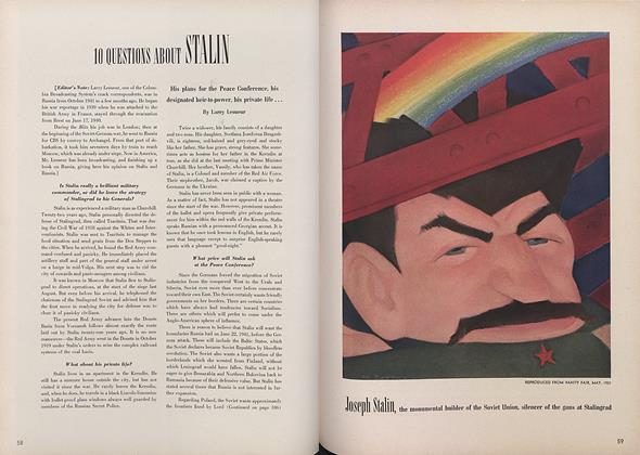 Article Preview: 10 Questions About Stalin, March 15 1943 | Vogue