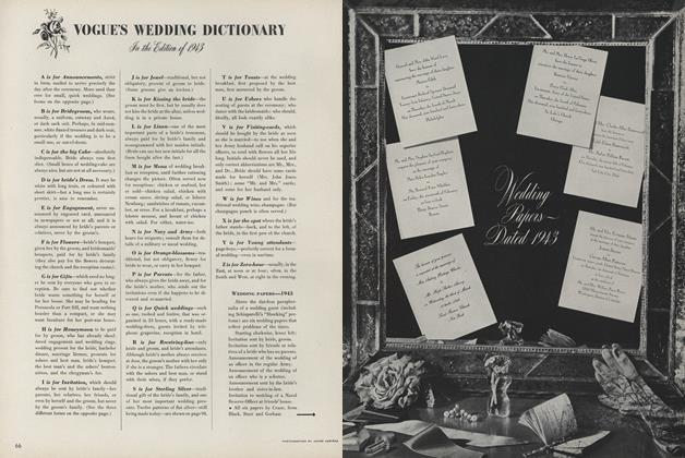Vogue's Wedding Dictionary: In the Edition of 1943