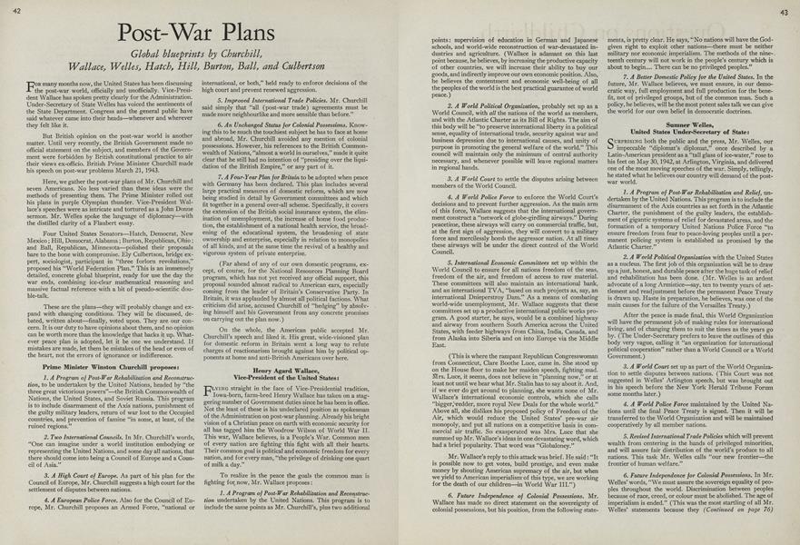 Post-War Plans