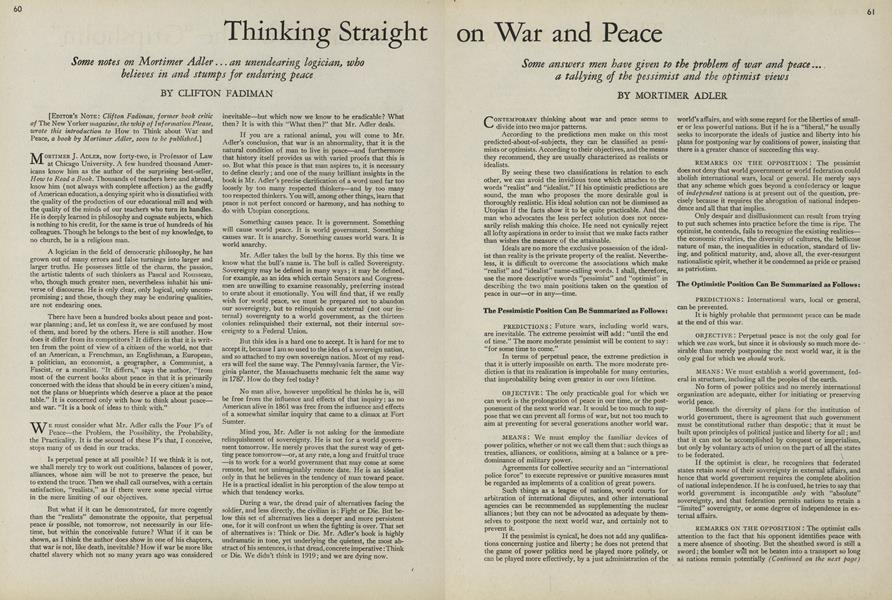 Thinking Straight on War and Peace