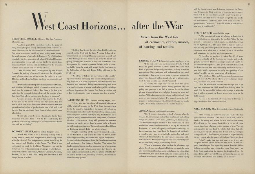 West Coast Horizons...After the War