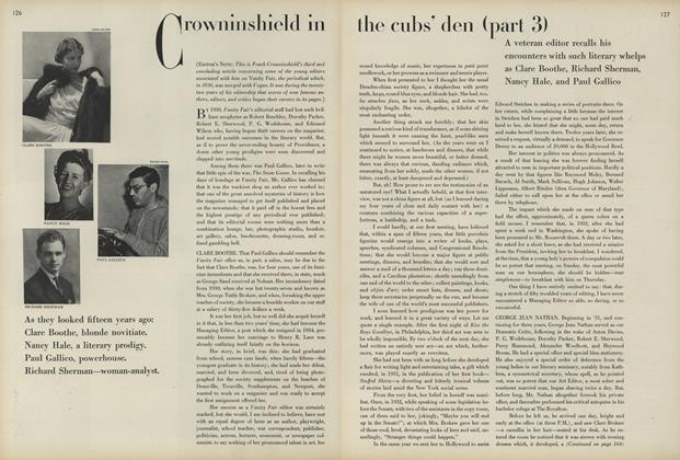 Crowninshield in the Cub's Den (Part 3)