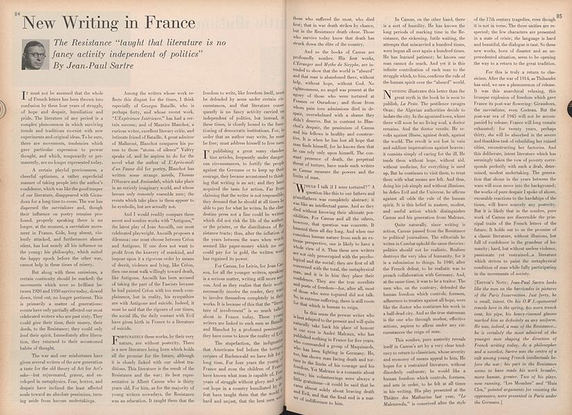 New Writing in France