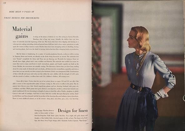 Article Preview: Material Gains, February 15 1946 | Vogue