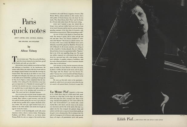 Paris Quick Notes: About Sartre, Gide, Cocteau, Politics, the Theatre, and Inflation