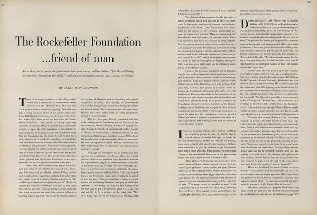 The Rockefeller Foundation... Friend of Man