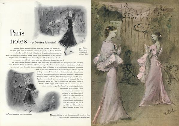 Article Preview: Paris Notes: Dior's Dress with Pleated, Stiffened Skirt/Dior's Tucked Dress..., May 1 1947 | Vogue