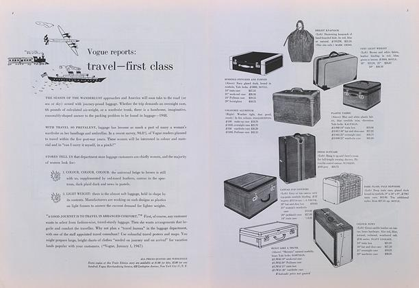 Vogue reports: travel—first class