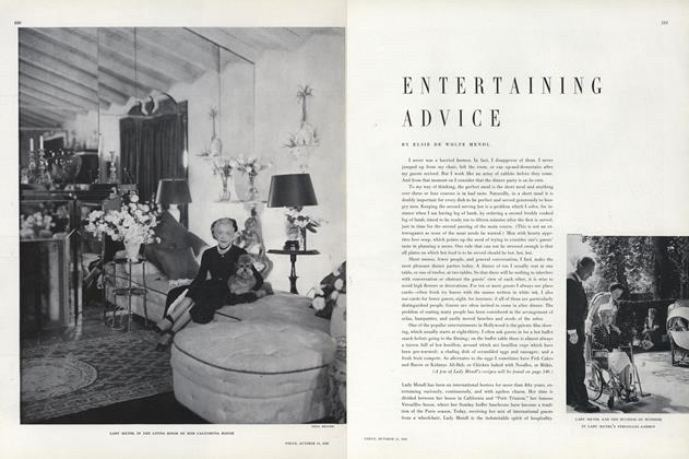 Article Preview: Entertaining Advice, October 15 1949 | Vogue