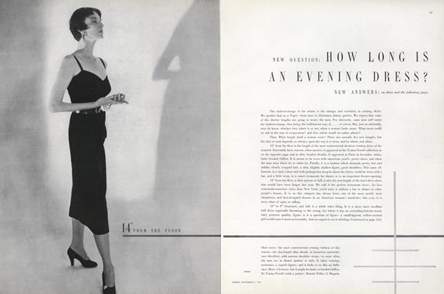 Article Preview: New Question: How Long Is an Evening Dress?, November 1 1949 | Vogue