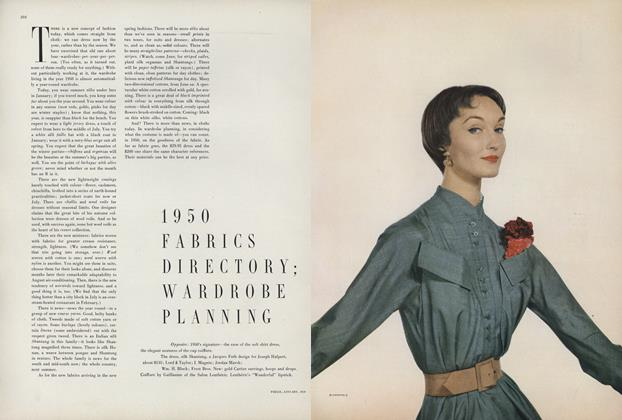 Article Preview: 1950 Fabrics Directory; Wardrobe Planning, January 1950 | Vogue