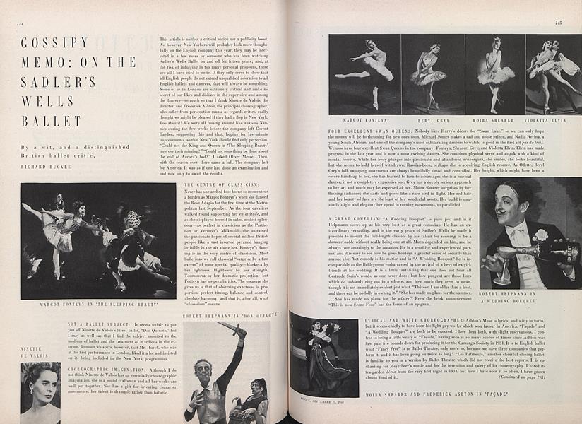 On the Sadler's Wells Ballet