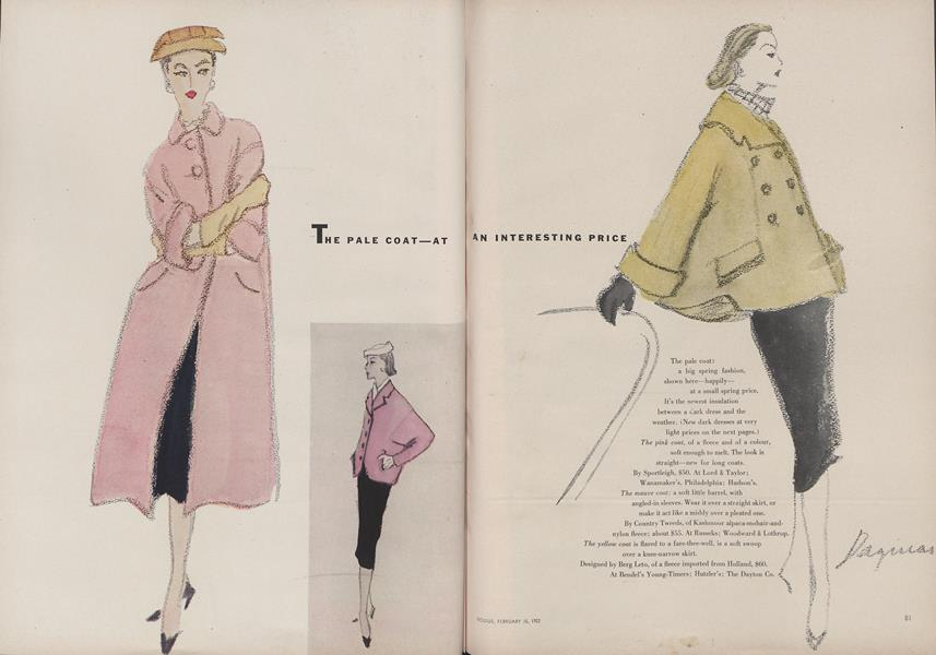 The Pale Coat At An Interesting Price Vogue February 15th 1952