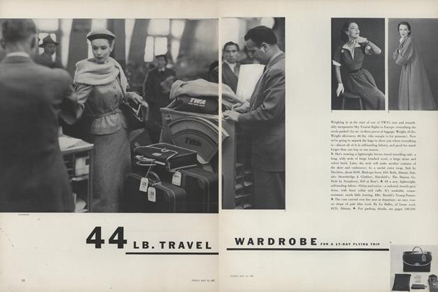 Article Preview: 44 Lb. Travel Wardrobe for a 17-Day Flying Trip, May 15 1952 | Vogue