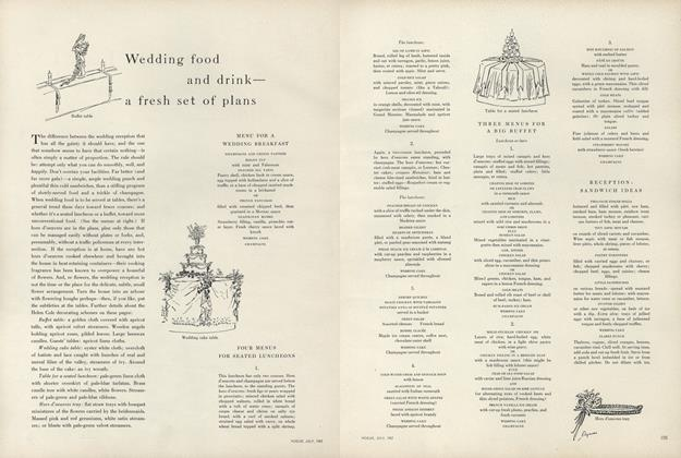 Article Preview: Wedding Food and Drink - A Fresh Set of Plans, July 1957 | Vogue