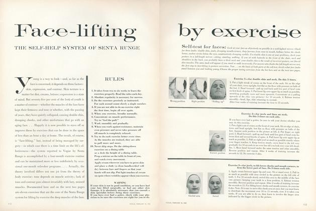 Article Preview: Face-lifting by Exercise: The Self-help System of Senta Runge, February 15 1959 | Vogue