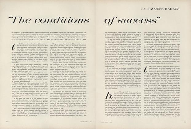 "Article Preview: ""The Conditions of Success"", March 1 1960 