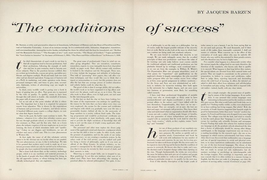 """The Conditions of Success"""