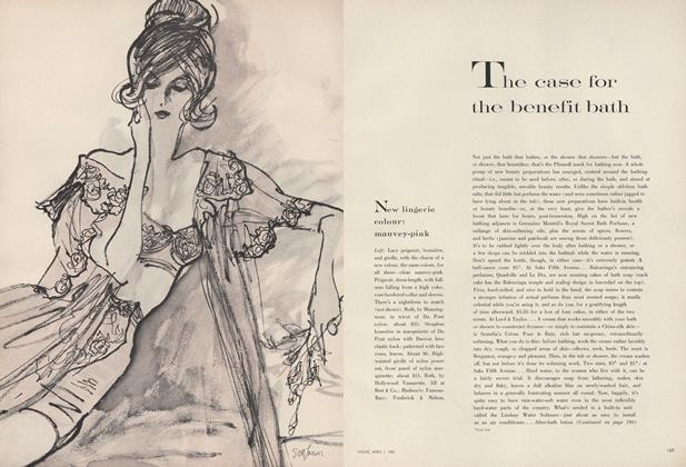 Article Preview: The Case for the Benefit Bath/Batiste—Its New Floating Power, April 1 1960 | Vogue